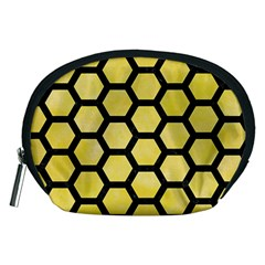 Hexagon2 Black Marble & Yellow Watercolor Accessory Pouches (medium)