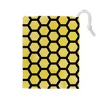 HEXAGON2 BLACK MARBLE & YELLOW WATERCOLOR Drawstring Pouches (Large)  Front