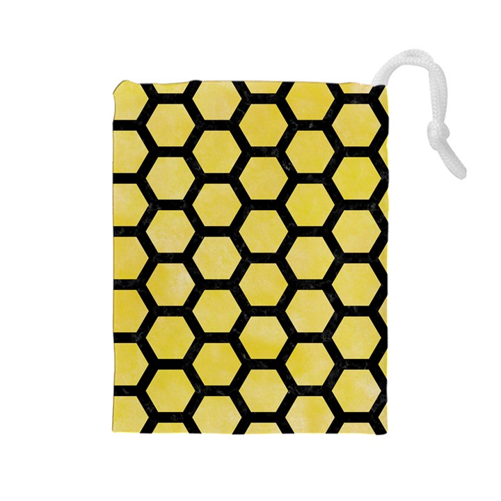 HEXAGON2 BLACK MARBLE & YELLOW WATERCOLOR Drawstring Pouches (Large)