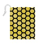 HEXAGON2 BLACK MARBLE & YELLOW WATERCOLOR Drawstring Pouches (Large)  Back