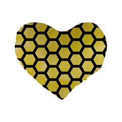 Hexagon2 Black Marble & Yellow Watercolor Standard 16  Premium Flano Heart Shape Cushions