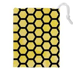 Hexagon2 Black Marble & Yellow Watercolor Drawstring Pouches (xxl)