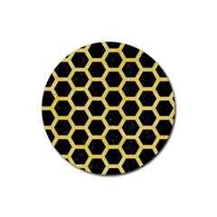 Hexagon2 Black Marble & Yellow Watercolor (r) Rubber Round Coaster (4 Pack)