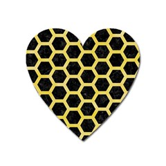 Hexagon2 Black Marble & Yellow Watercolor (r) Heart Magnet