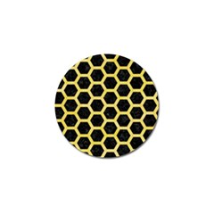 Hexagon2 Black Marble & Yellow Watercolor (r) Golf Ball Marker (10 Pack)