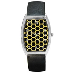 Hexagon2 Black Marble & Yellow Watercolor (r) Barrel Style Metal Watch