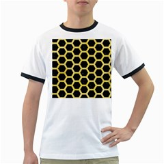 Hexagon2 Black Marble & Yellow Watercolor (r) Ringer T Shirts