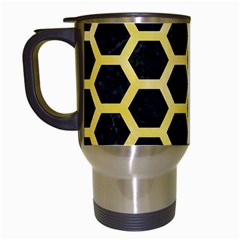 Hexagon2 Black Marble & Yellow Watercolor (r) Travel Mugs (white)