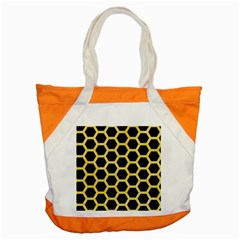 Hexagon2 Black Marble & Yellow Watercolor (r) Accent Tote Bag