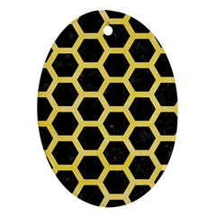 Hexagon2 Black Marble & Yellow Watercolor (r) Oval Ornament (two Sides)