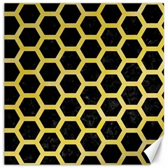 Hexagon2 Black Marble & Yellow Watercolor (r) Canvas 12  X 12