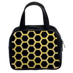 Hexagon2 Black Marble & Yellow Watercolor (r) Classic Handbags (2 Sides)