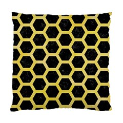 Hexagon2 Black Marble & Yellow Watercolor (r) Standard Cushion Case (two Sides)