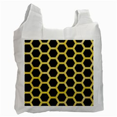 Hexagon2 Black Marble & Yellow Watercolor (r) Recycle Bag (one Side)