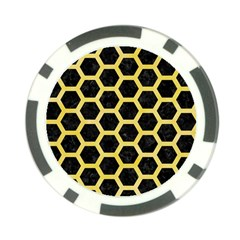Hexagon2 Black Marble & Yellow Watercolor (r) Poker Chip Card Guard (10 Pack)