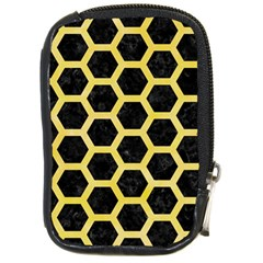 Hexagon2 Black Marble & Yellow Watercolor (r) Compact Camera Cases