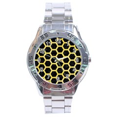 Hexagon2 Black Marble & Yellow Watercolor (r) Stainless Steel Analogue Watch