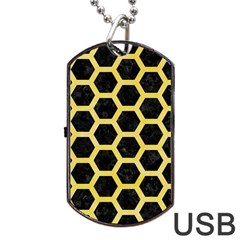Hexagon2 Black Marble & Yellow Watercolor (r) Dog Tag Usb Flash (one Side)