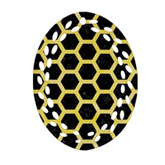 Hexagon2 Black Marble & Yellow Watercolor (r) Oval Filigree Ornament (two Sides)