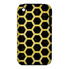 Hexagon2 Black Marble & Yellow Watercolor (r) Iphone 3s/3gs