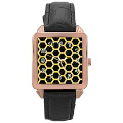 Hexagon2 Black Marble & Yellow Watercolor (r) Rose Gold Leather Watch