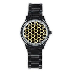 Hexagon2 Black Marble & Yellow Watercolor (r) Stainless Steel Round Watch
