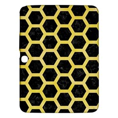 Hexagon2 Black Marble & Yellow Watercolor (r) Samsung Galaxy Tab 3 (10 1 ) P5200 Hardshell Case
