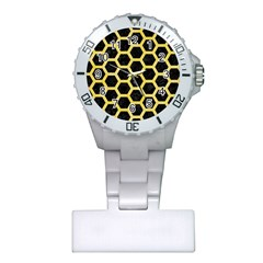 Hexagon2 Black Marble & Yellow Watercolor (r) Plastic Nurses Watch
