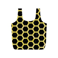 Hexagon2 Black Marble & Yellow Watercolor (r) Full Print Recycle Bags (s)