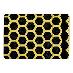 Hexagon2 Black Marble & Yellow Watercolor (r) Samsung Galaxy Tab Pro 10 1  Flip Case