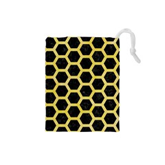 Hexagon2 Black Marble & Yellow Watercolor (r) Drawstring Pouches (small)