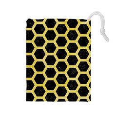 Hexagon2 Black Marble & Yellow Watercolor (r) Drawstring Pouches (large)
