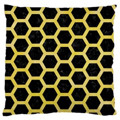Hexagon2 Black Marble & Yellow Watercolor (r) Large Flano Cushion Case (two Sides)
