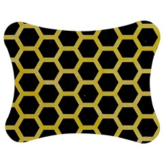 Hexagon2 Black Marble & Yellow Watercolor (r) Jigsaw Puzzle Photo Stand (bow)