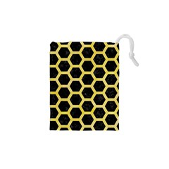 Hexagon2 Black Marble & Yellow Watercolor (r) Drawstring Pouches (xs)