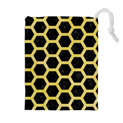 Hexagon2 Black Marble & Yellow Watercolor (r) Drawstring Pouches (extra Large)