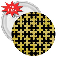 Puzzle1 Black Marble & Yellow Watercolor 3  Buttons (10 Pack)