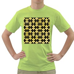 Puzzle1 Black Marble & Yellow Watercolor Green T Shirt