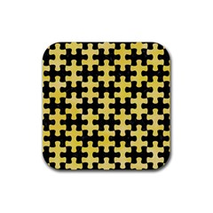 Puzzle1 Black Marble & Yellow Watercolor Rubber Coaster (square)