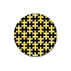 Puzzle1 Black Marble & Yellow Watercolor Magnet 3  (round)