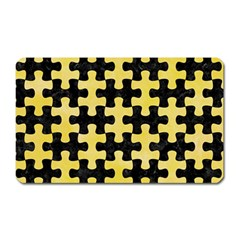 Puzzle1 Black Marble & Yellow Watercolor Magnet (rectangular)