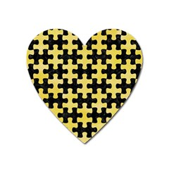 Puzzle1 Black Marble & Yellow Watercolor Heart Magnet
