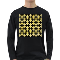 Puzzle1 Black Marble & Yellow Watercolor Long Sleeve Dark T Shirts