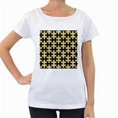 Puzzle1 Black Marble & Yellow Watercolor Women s Loose Fit T Shirt (white)