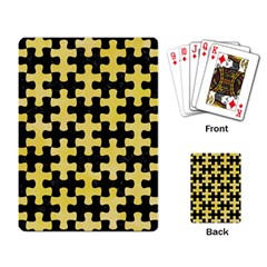 Puzzle1 Black Marble & Yellow Watercolor Playing Card