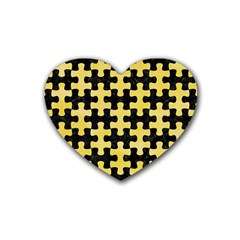 Puzzle1 Black Marble & Yellow Watercolor Rubber Coaster (heart)