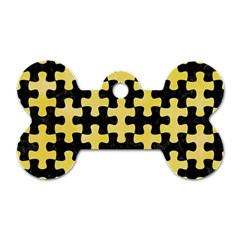 Puzzle1 Black Marble & Yellow Watercolor Dog Tag Bone (two Sides)