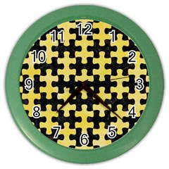 Puzzle1 Black Marble & Yellow Watercolor Color Wall Clocks