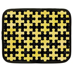 Puzzle1 Black Marble & Yellow Watercolor Netbook Case (large)