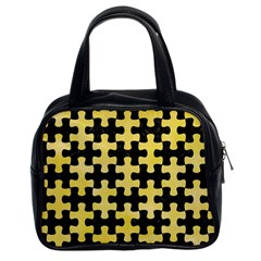 Puzzle1 Black Marble & Yellow Watercolor Classic Handbags (2 Sides)